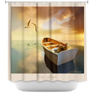 The Lovers Birds and Boats Single Shower Curtain