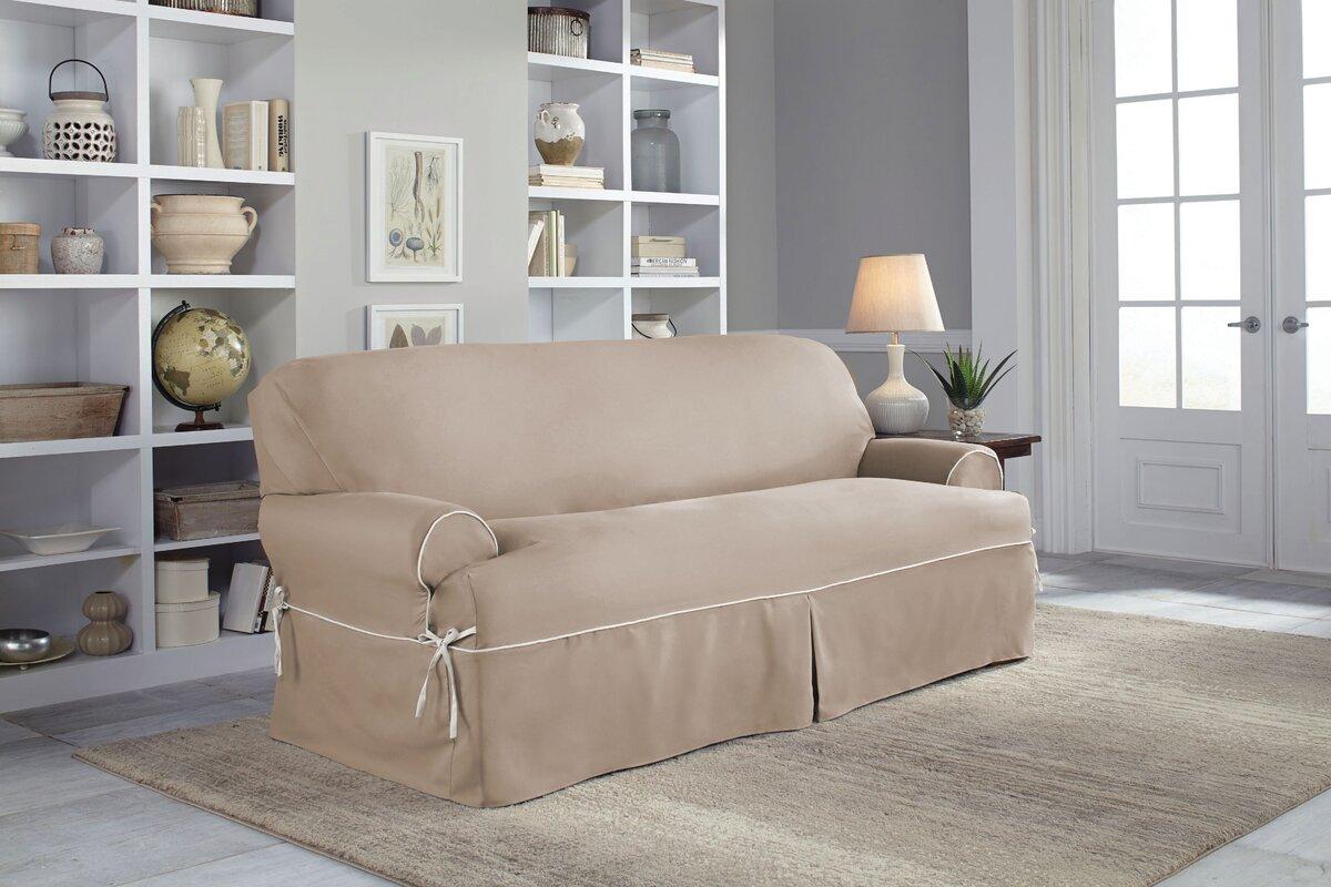 Twill T-Cushion Sofa Slipcover