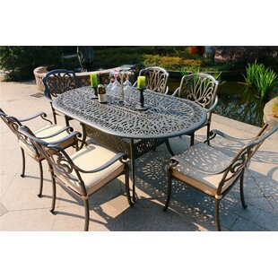 Baptiste Aluminum 7 Piece Sunbrella Dining Set with Sunbrella Cushions by Canora Grey