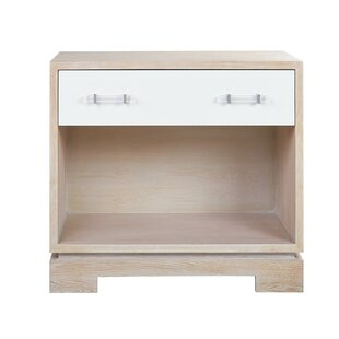 Cerused Oak Case 1 Drawer Nightstand by Worlds Away