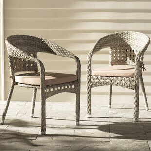 Alex Stacking Patio Dining Chair with Cushion (Set of 2)