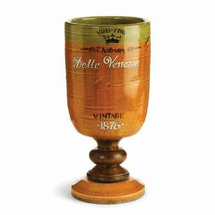 Bistre Orange Footed Chalice Table Vase