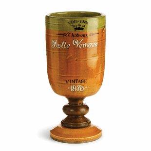 Bistre Orange Footed Chalice Table Vase