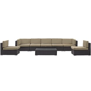 Latitude Run Ryele 8 Piece Rattan Sectional Set with Cushions