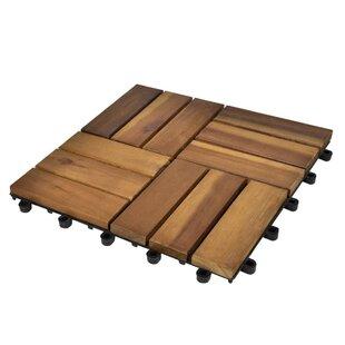 Few 30cm x 30cm Wood Field Tile in Brown (Set of 10) by Lynton Garden