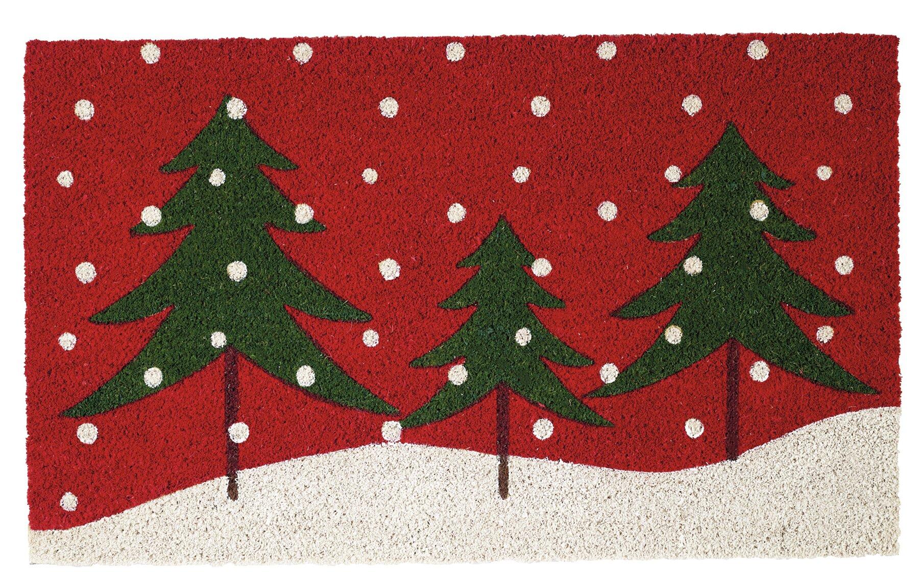 The Holiday Aisle Boylston Snowy Trees 30 X 18 Non Slip Outdoor Door Mat Wayfair