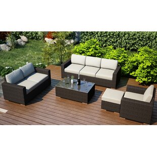 Hodge 5 Piece Teak Sofa Seating Group with Sunbrella Cushions