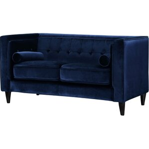 Willa Arlo Interiors Roberta Velvet Chesterfield Loveseat Image