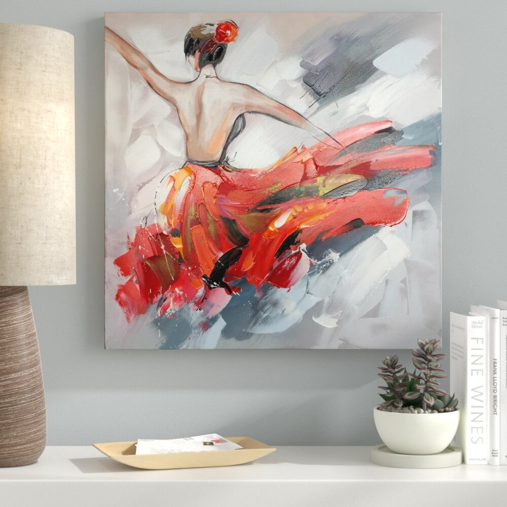Ebern Designs Dancing In Red Dress I Oil Painting Print On Wred Canvas Wayfair