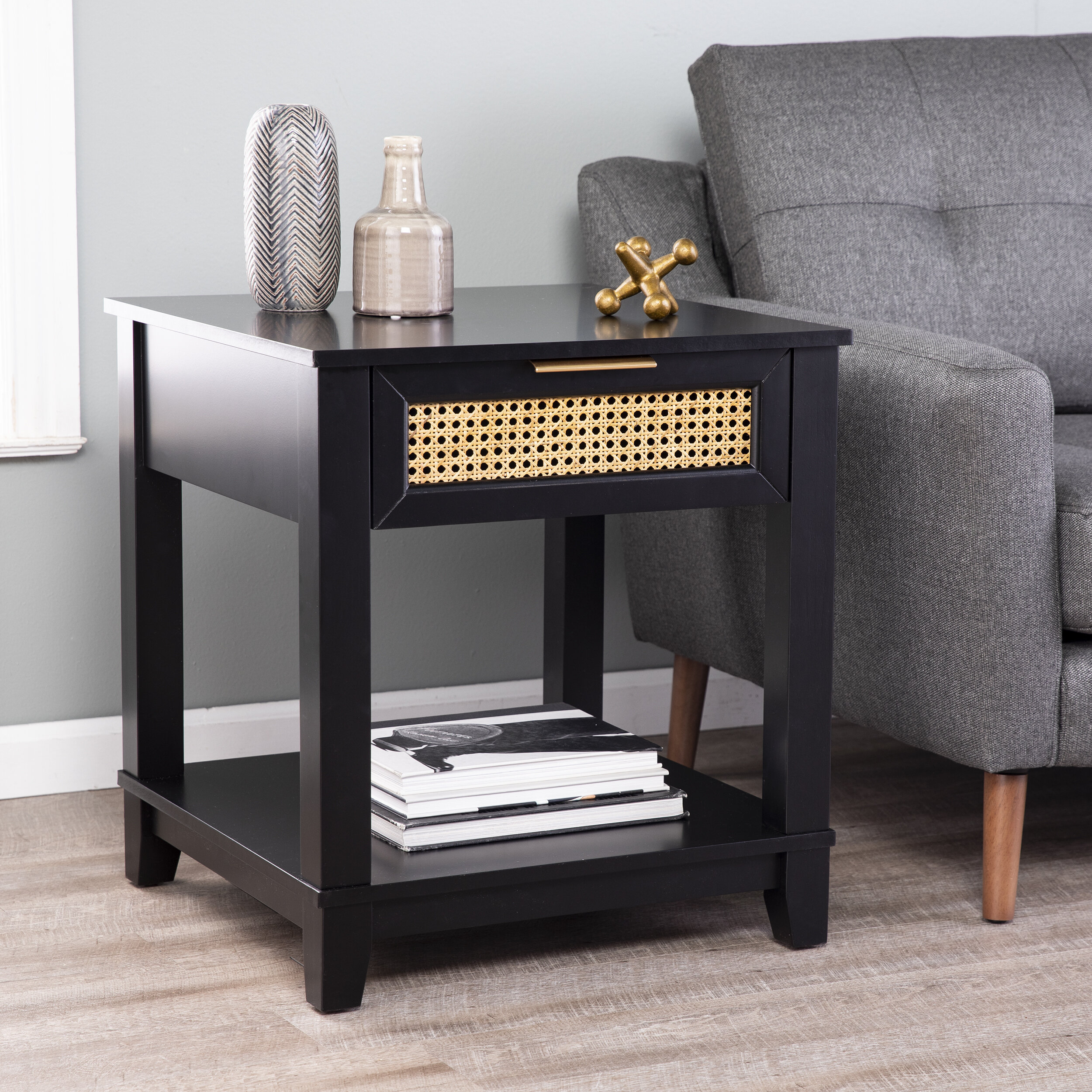 Bay Isle Home Knute End Table With Storage Reviews Wayfair