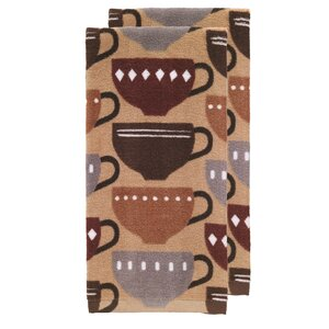 Coffee Fiber Reactive Print Kitchen Dishcloth (Set of 2)