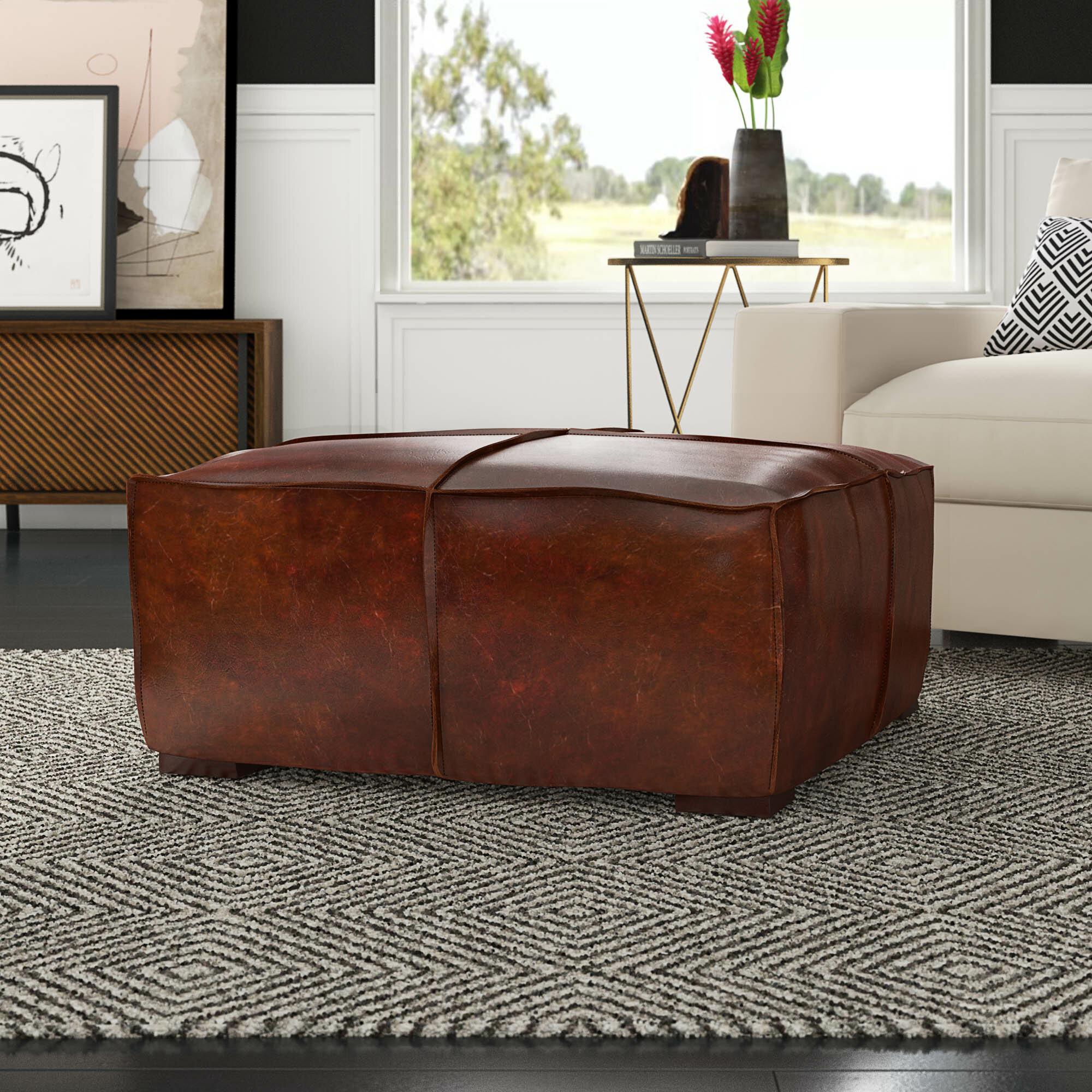 Mercury Row Licon Leather Ottoman Reviews Wayfair