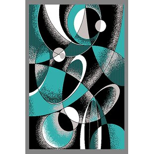 Cothern Turquoise/Black Area Rug By Ebern Designs