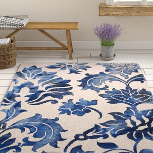 Best Price Kier Hand-Tufted Navy/Off-White Area Rug By Ophelia & Co.
