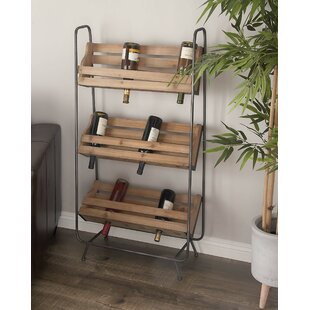 Wood/Metal 18 Bottle Floor Wine Rack by C..