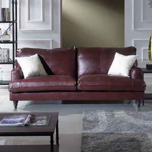 auberto classic victorian top grain leather sofa - Top Grain Leather Sofa