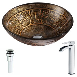 Affordable Alto Glass Circular Vessel Bathroom Sink with Faucet By ANZZI