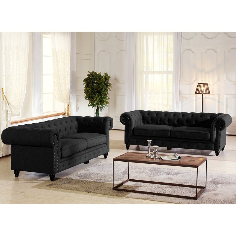 Baxton Studio Cassandra Rolled Arm Chesterfield Sofa