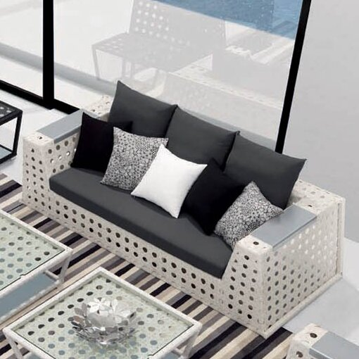 100 Essentials  Happy Hour Sofa with Cushions Fabric: Sunbrella Black, Finish: Tan