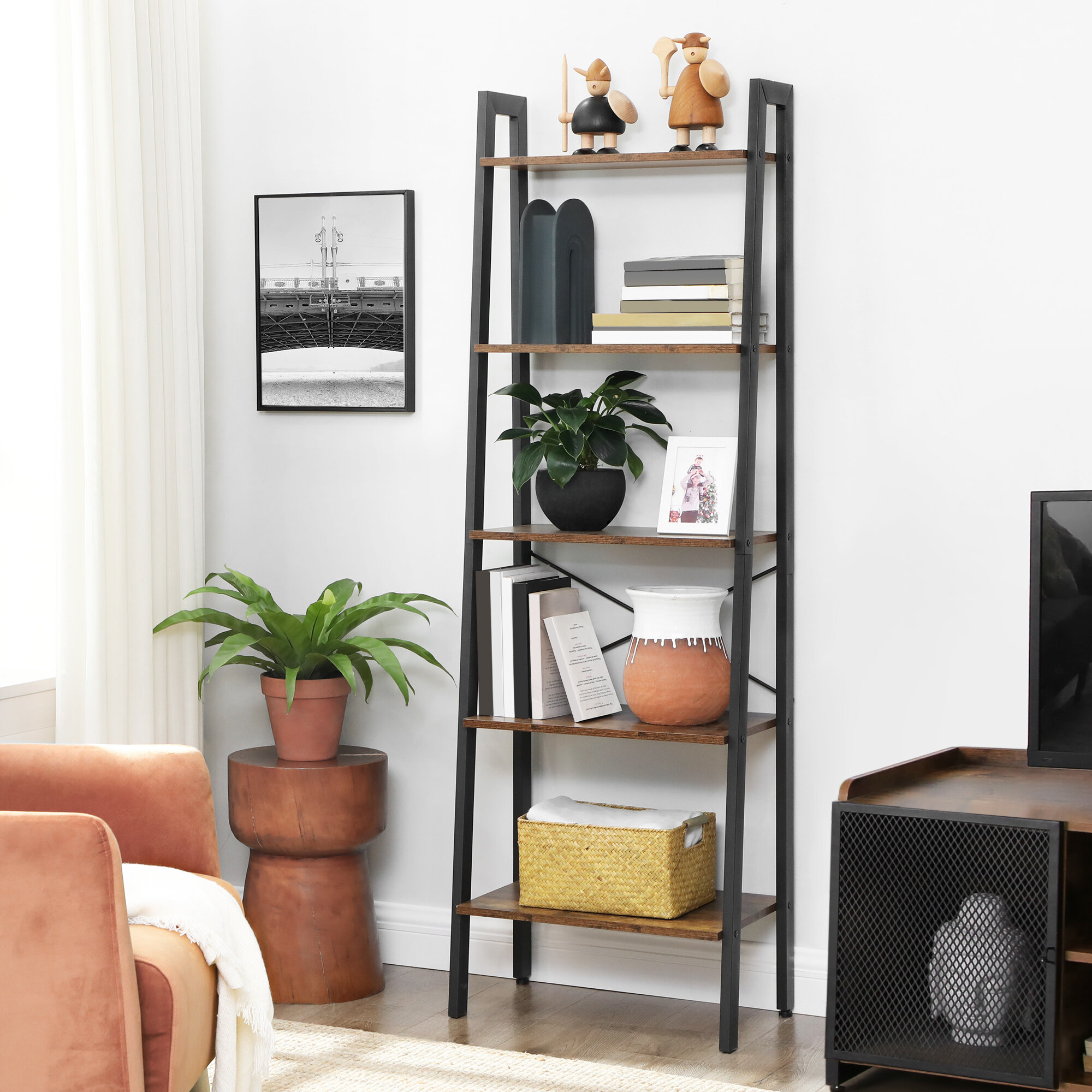 Bookcase Dark Wood Large Tall Wide Adjustable Shelves Boston Range Living Room