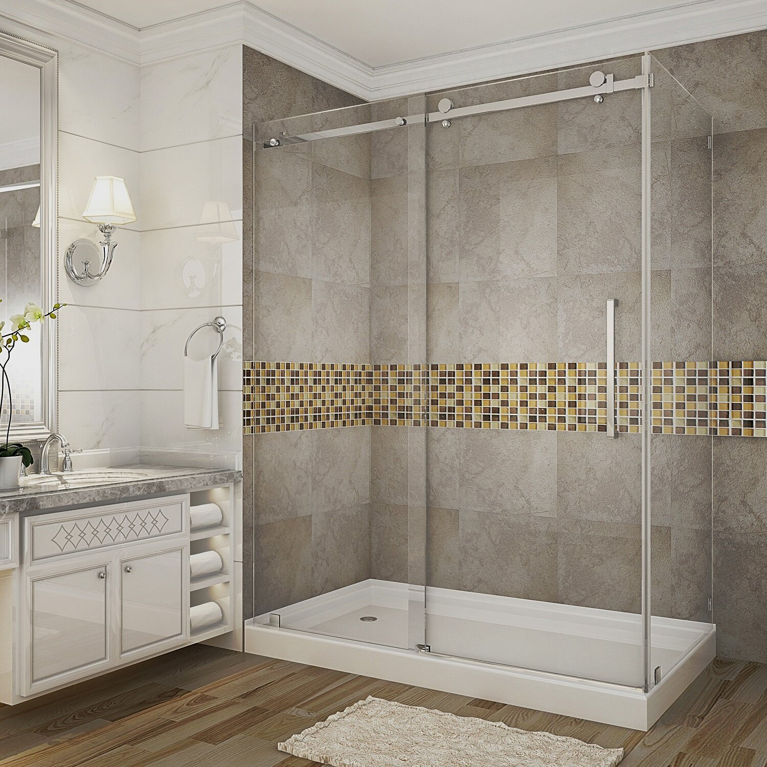 """Aston Moselle 60"""" x 77.5"""" Rectangle Sliding Shower enclosure with Base Included & Reviews   Wayfair"""
