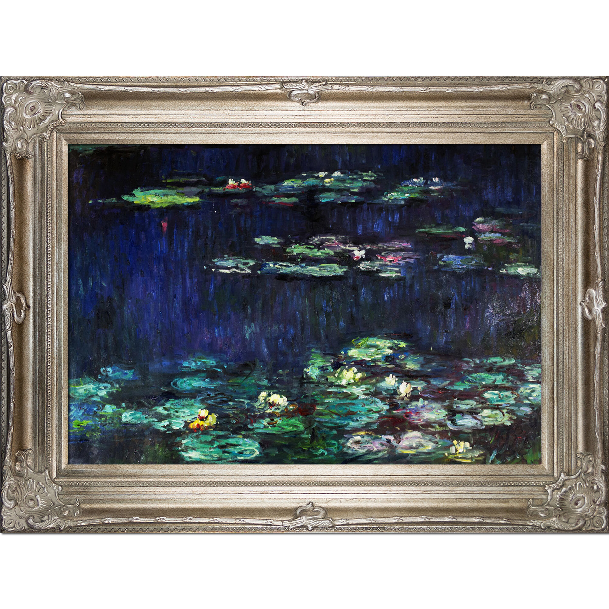 Water Lilies Green Reflections By Claude Monet Framed Painting Print