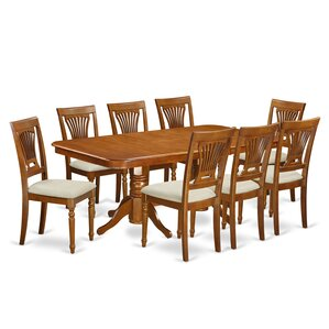 Elegant Pillsbury Modern 9 Piece Dining Set With Double Pedestal Table Legs