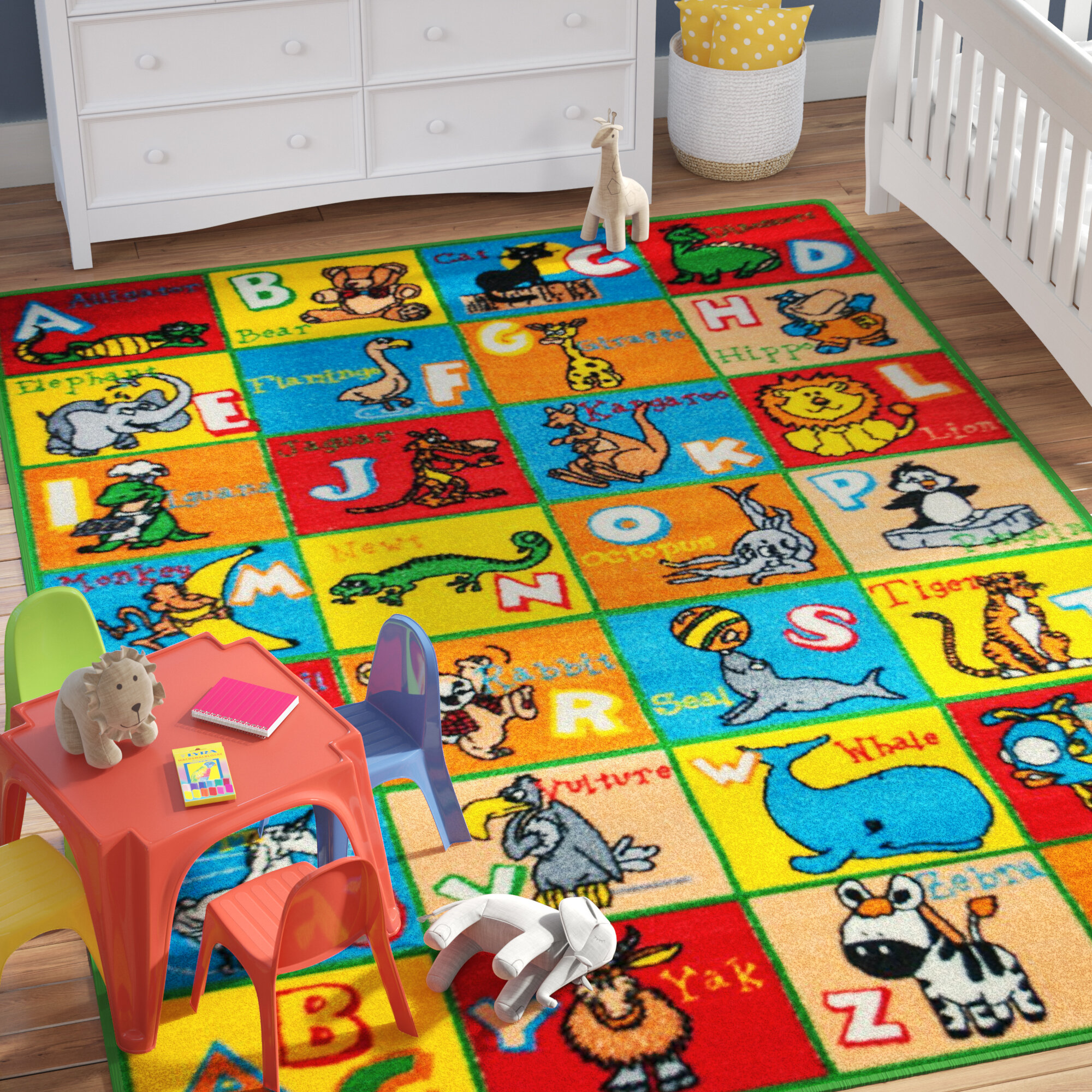 Zoomie Kids Angelique Learn ABC / Alphabet Letters With Animals Bright  Colorful Vibrant Colors Kids / Baby Room Area Rug U0026 Reviews | Wayfair