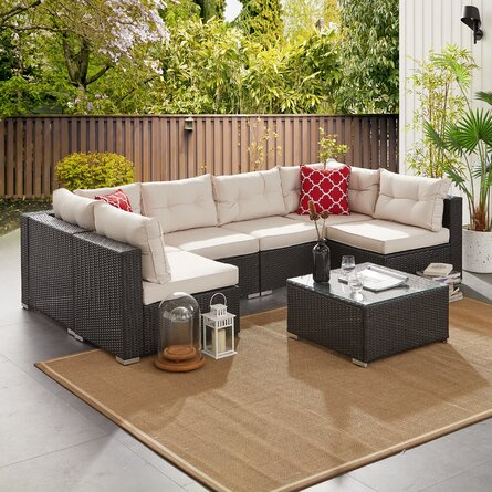 New Braunfels Wicker/Rattan 6 - Person Seating Group with Cushions
