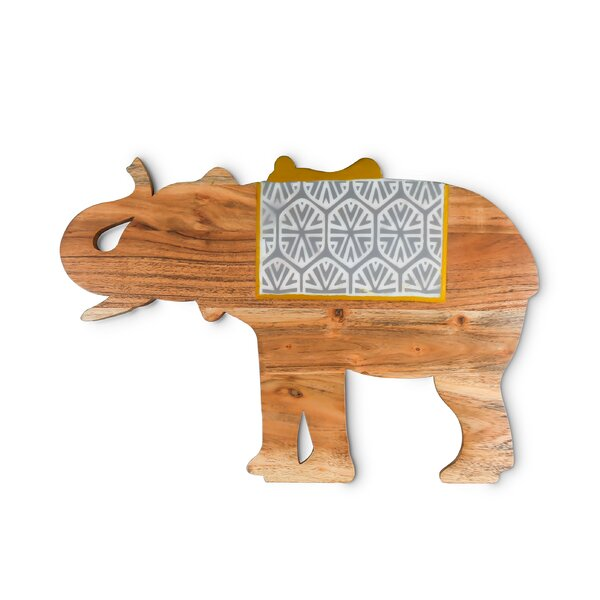 Highcliffe Wood Large Elephant Cutting Board With Printed Design