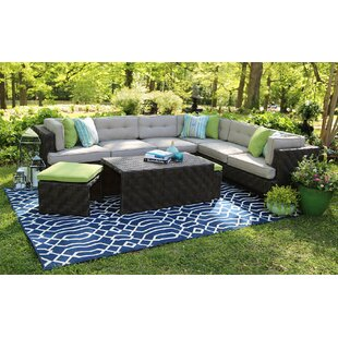 Kiana 6 Piece Rattan Sunbrella Sectional Seating Group with Sunbrella Cushions