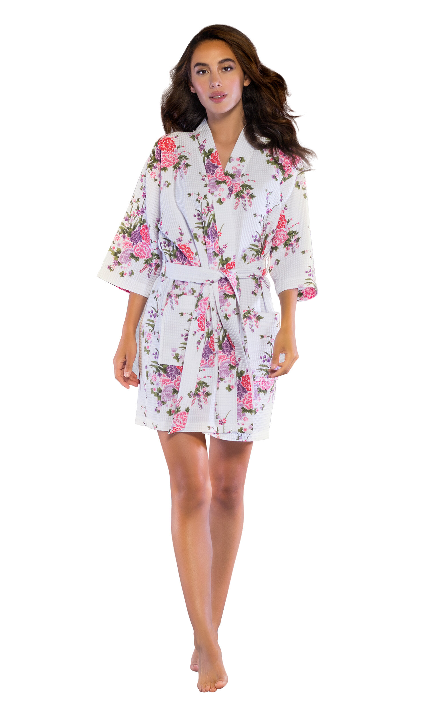 f036247af6 Turquaz Linen Kimono Bridesmaids Spa Knee Length Cotton Blend Waffle  Bathrobe