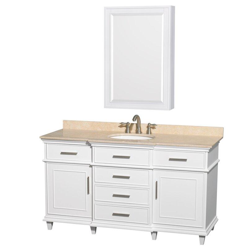 Single white bathroom vanities Carrera Berkeley 60 Wayfair Wyndham Collection Berkeley 60