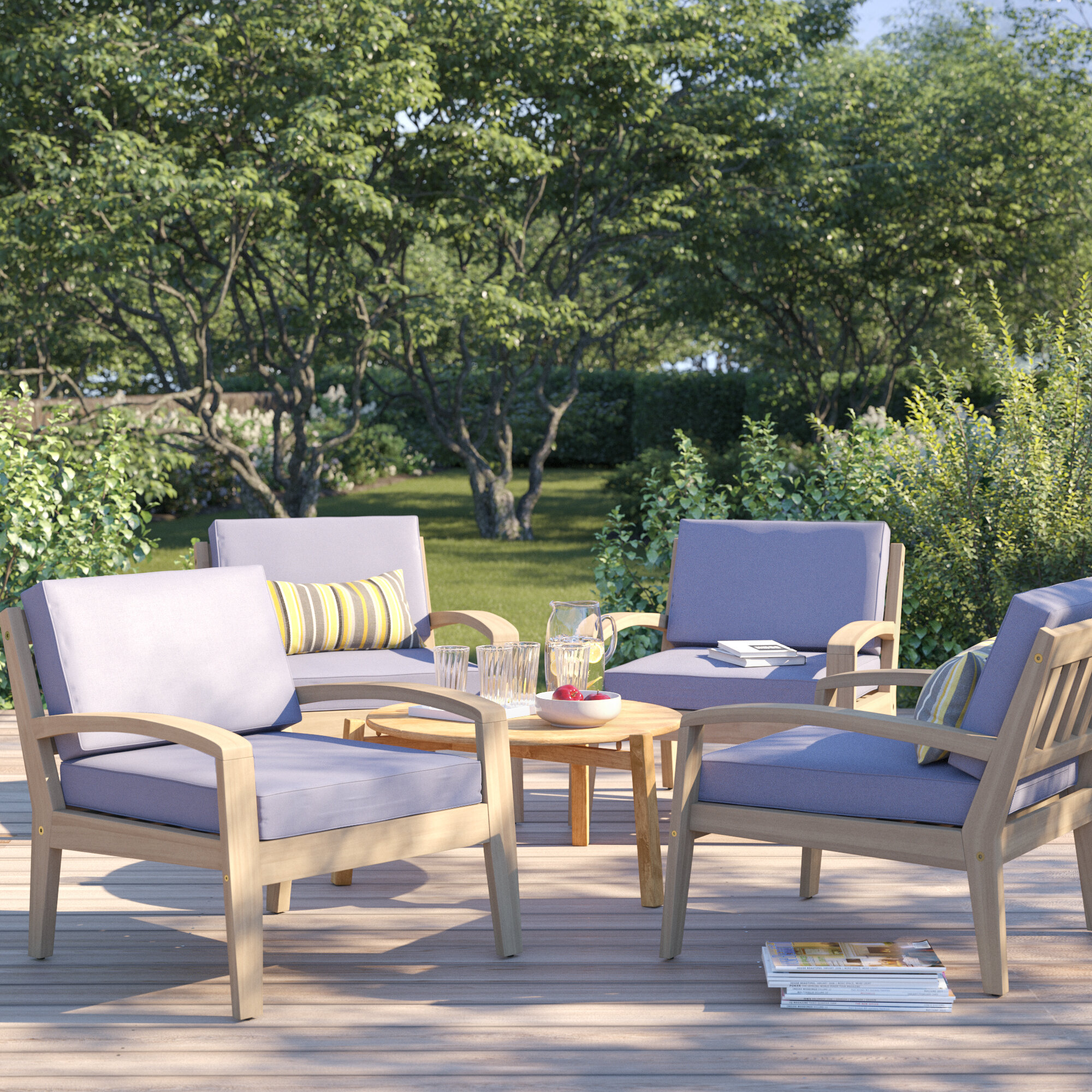 Sol 72 Outdoor Berkley Wood Frame Patio Chair with Cushions