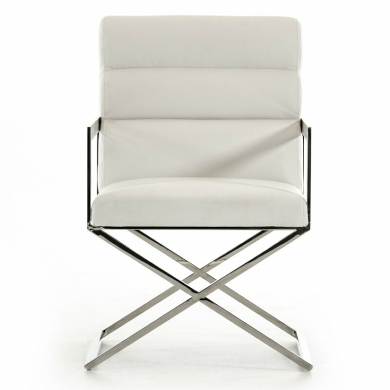 Modern Arm Chair orren ellis clower modern steel leg arm chair & reviews | wayfair