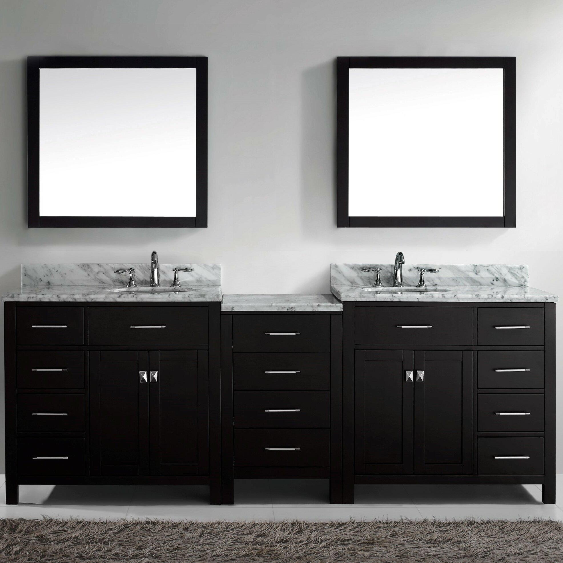 Double bathroom vanity - Stoughton 92 8 Double Bathroom Vanity Set With Carrara White Top And Mirror