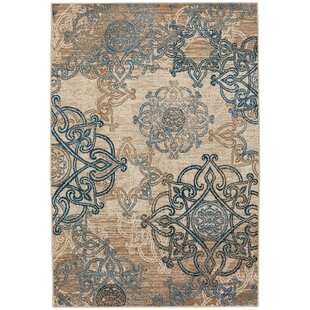 Curtice Ecru/Blue Indoor/Outdoor Area Rug