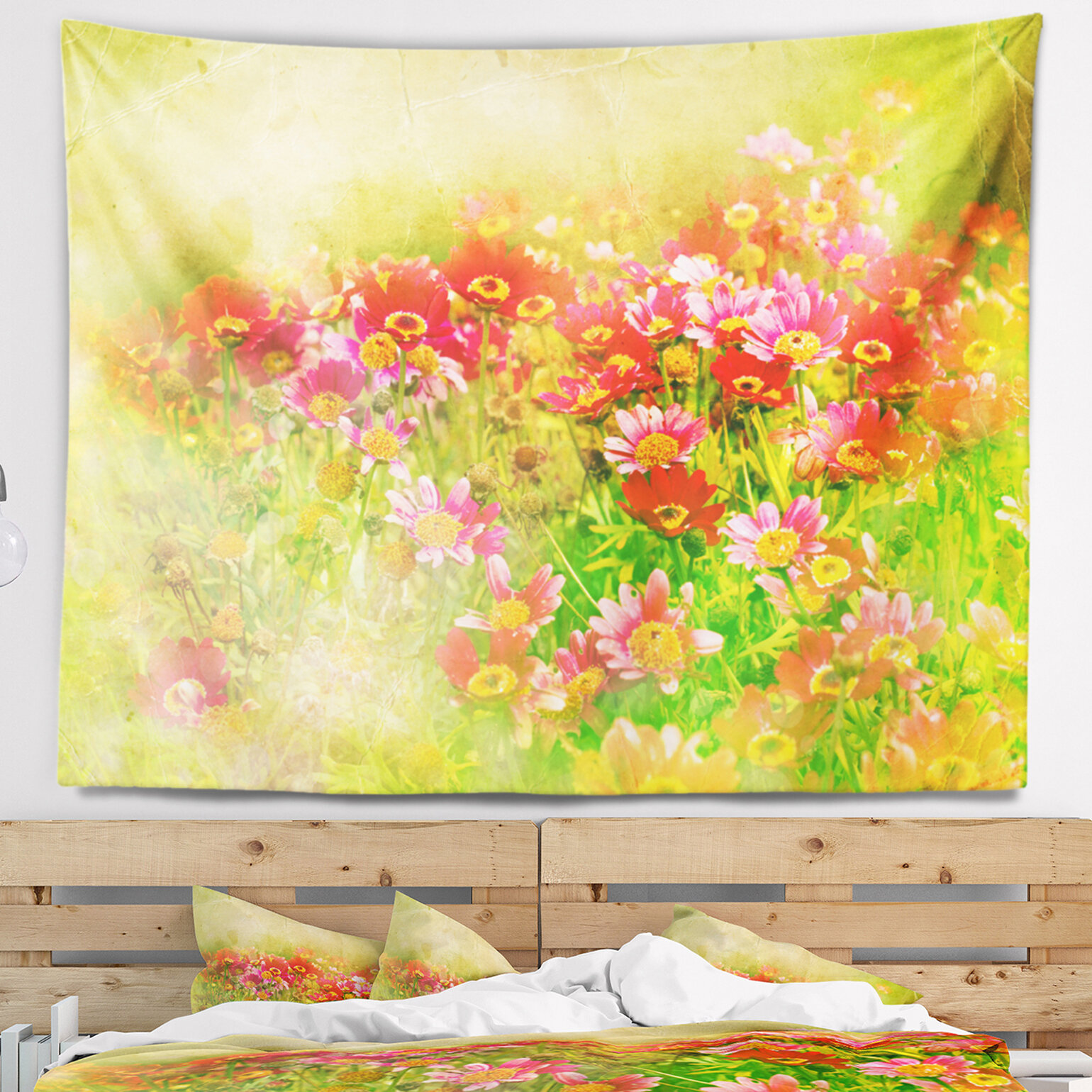 East Urban Home Colorful Spring Garden with Flowers Tapestry and ...