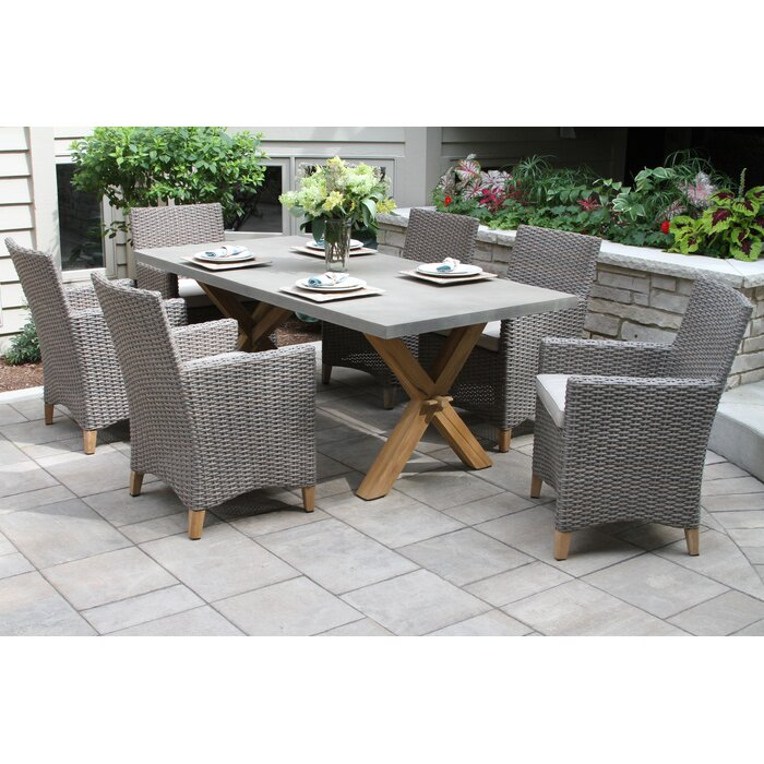 Stedman 7 Piece Teak Dining Set With Sunbrella Cushions