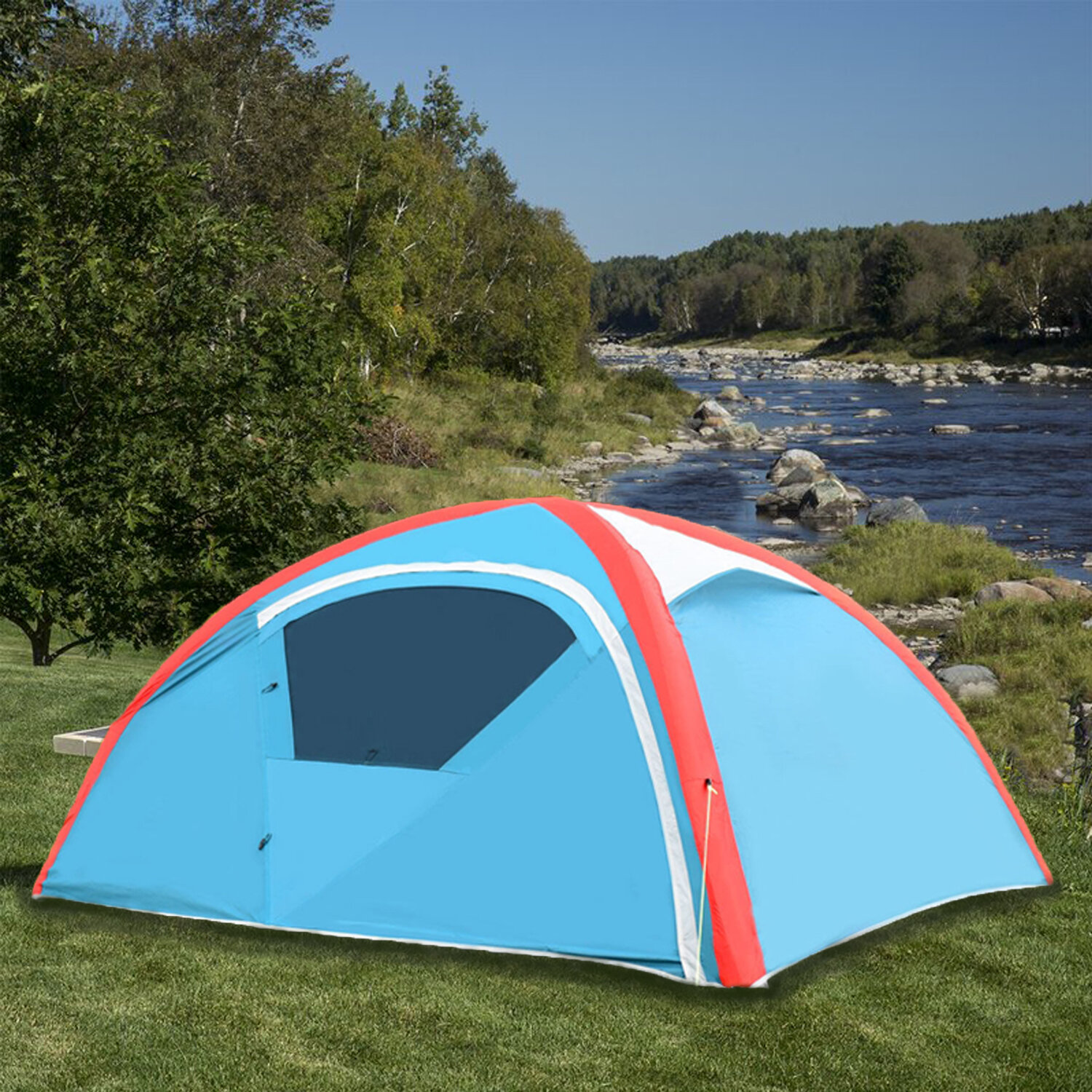 Liviza Inflatable Camping Waterproof 3 Person Tent With Bag And Pump Wayfair