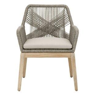 Mistana Kiley Teak Patio Dining Chair with Cushion (Set of 2)