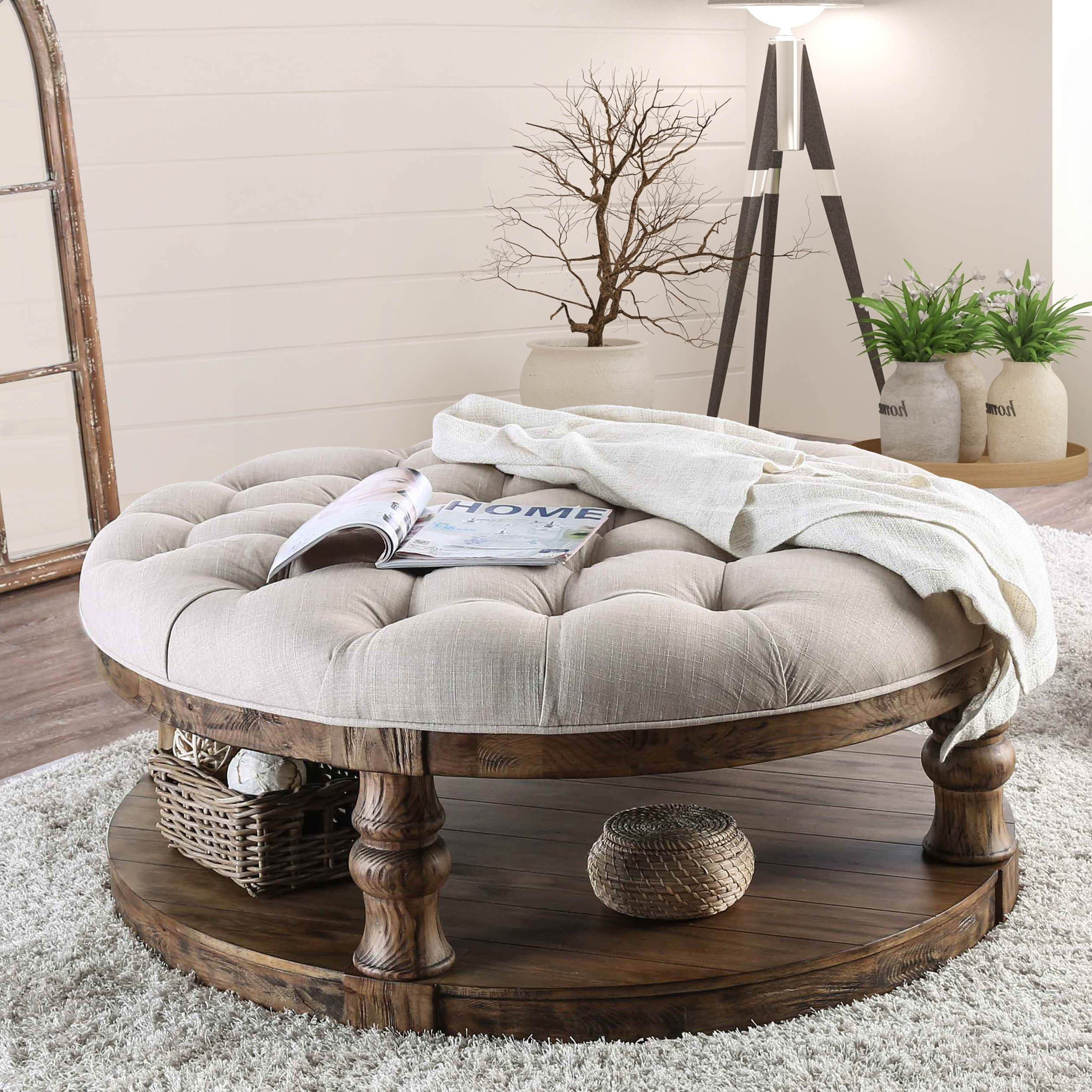 Amstel Farmhouse Tufted Coffee Table