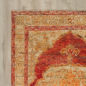 Artesia Hand-Knotted Red Orange / Beige Area Rug