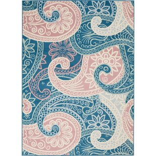 Boggess Paisley Blue/Pink/Ivory Area Rug by Bungalow Rose
