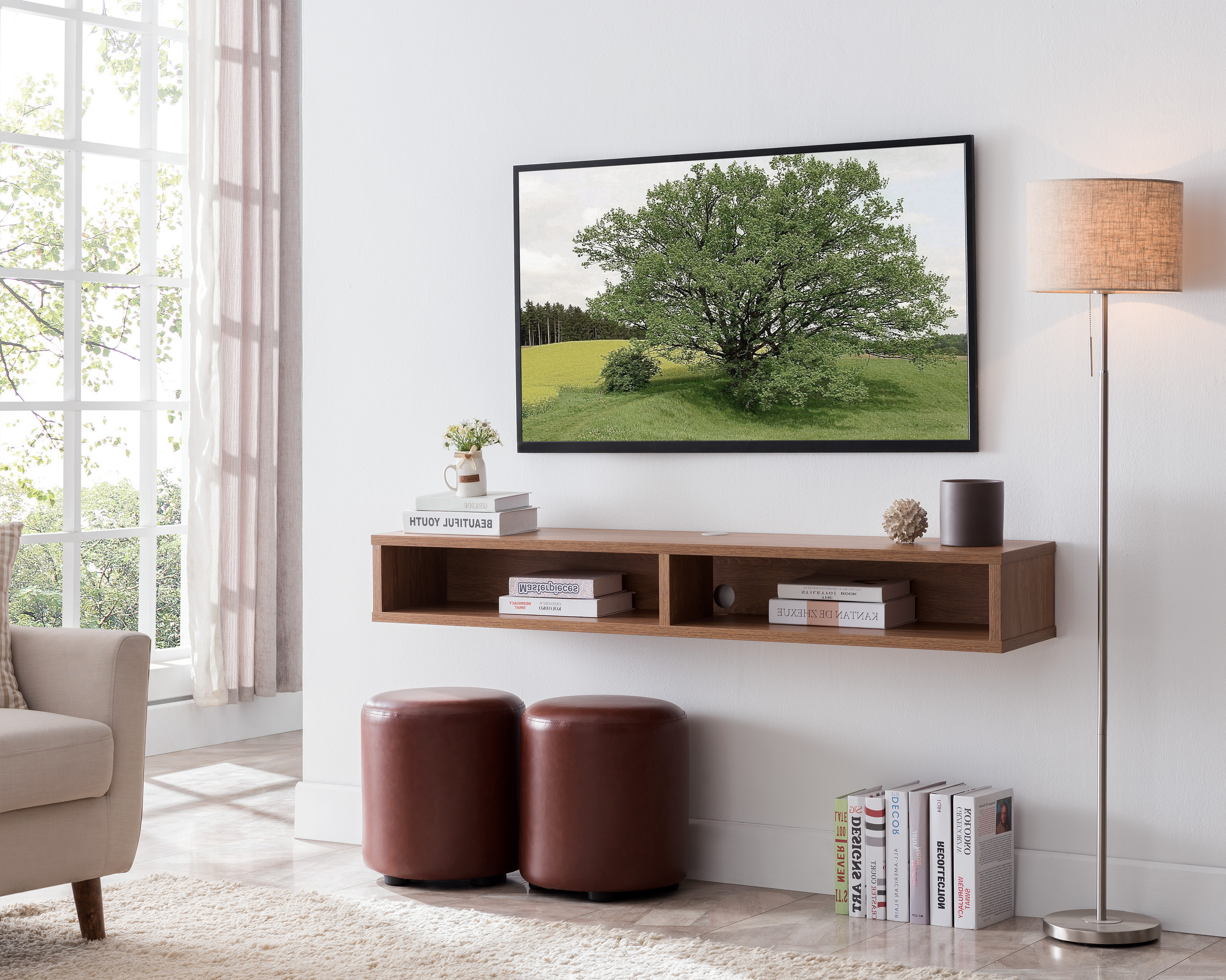 wrought studio keiper solid wood floating tv stand for tvs up to 70 w