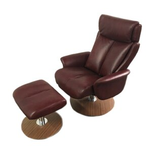Sapphire Leather Manual Swivel Recliner with Ottoman