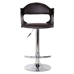 Bobbie Adjustable Height Swivel Bar Stool by Ebern Designs