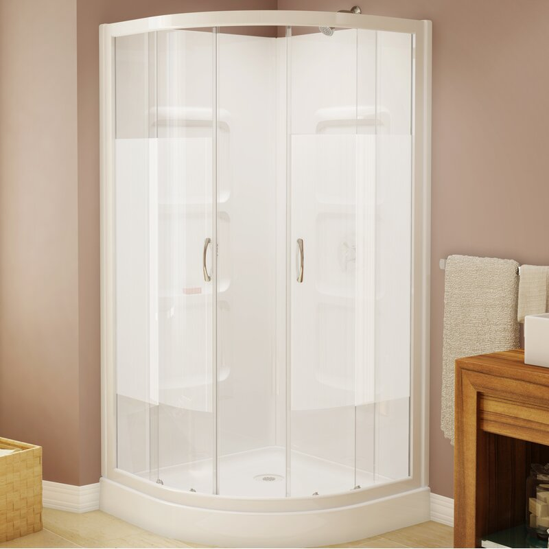 """A&E Bath and Shower Mona 37.5"""" x 74"""" Neo-Angle Sliding Shower Enclosure with Base Included"""