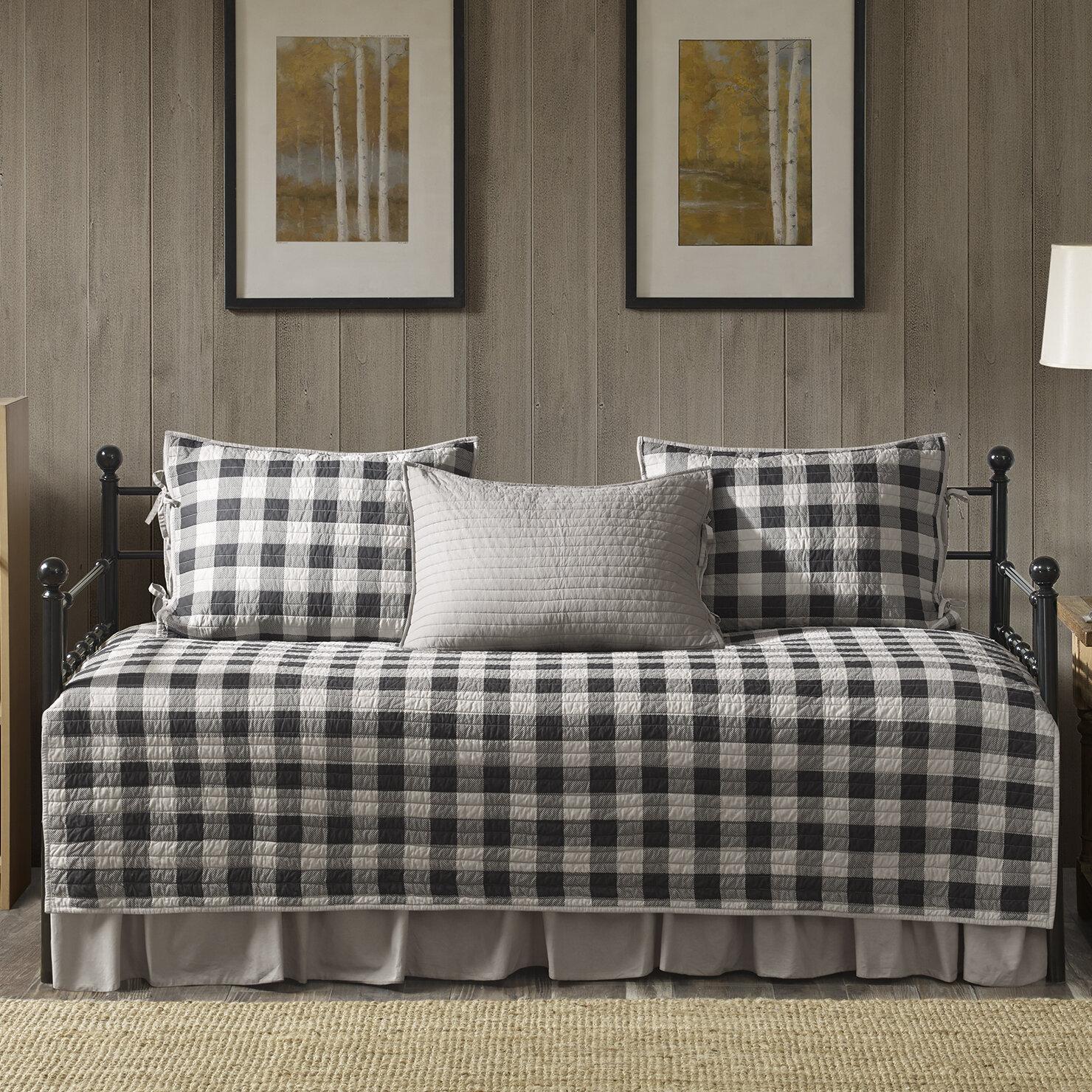 king set plaid check buffalo comforter bed full plush