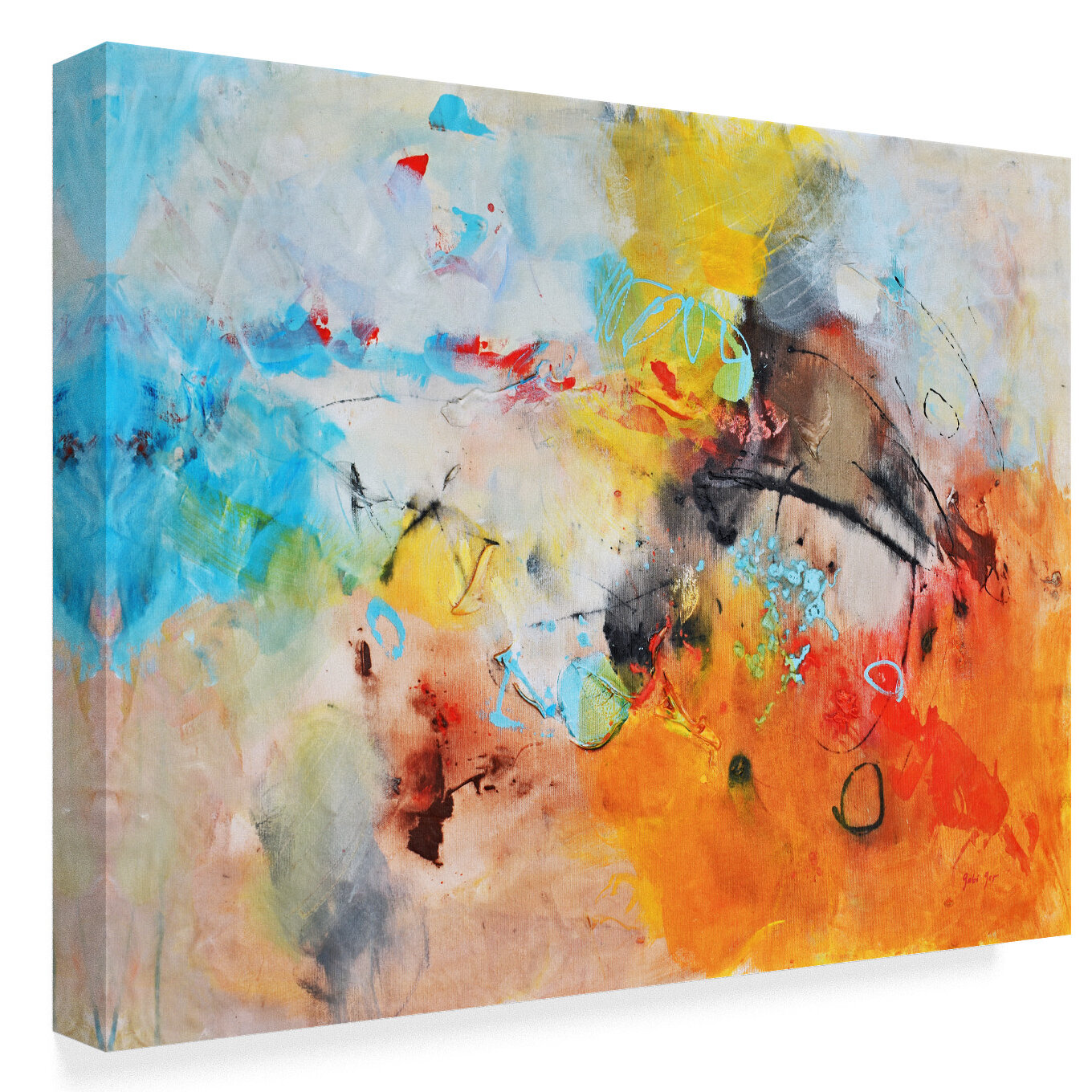 Trademark Art Abstract Colors Acrylic Painting Print On Wrapped Canvas Wayfair